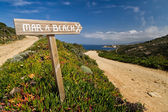 Signpost pointing to the beach at La Revellata near Calvi in Cor — Stock Photo