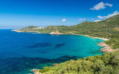 Beach and coastline at Cargese in Corsica — Stock Photo