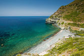 Beach and Genoese tower at Negru on Cap Corse — Stock Photo