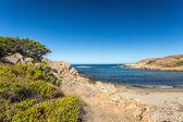 Beach and rocky coastline of north Corsica — Stock Photo