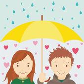 Enamored under an umbrella — Stock Photo