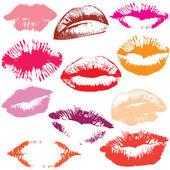 Set van glanzende lippen in inschrijving kus. — Stockvector