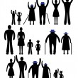 People silhouette family icon. Person vector woman, man. Child, grandfather, grandmother generation illustration. — Stock Vector #40464151