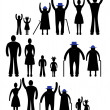 People silhouette family icon. Person vector woman, man. Child, grandfather, grandmother generation illustration. — Stock Vector