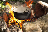 Pot on the fire — Stock Photo