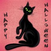 Black cat halloween vector illuatration — Stock Vector