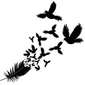 Feather of bird vector illustration sketch — Vecteur