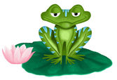 Green frog on white background — Stock Photo