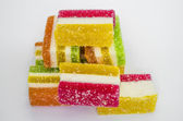 Gelatin, green, yellow, orange, candy, jujube — Stock Photo