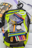 School bag, backpack, pencils, pens, eraser, school, holiday, rulers, knowledge, books — Stock Photo