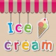 Ice cream shopfront sign — Stock Vector