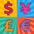 Stock Vector: Pop art currency symbol
