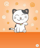 Smiling lucky cat — Stock Vector