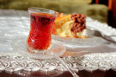 Turkish Tea With Cake — Stock Photo