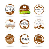 Chocolate, coffe and caramel icon design - sticker. — Stock Vector
