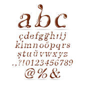 Chocolate Alphabet Lower Case Italic — Stock Vector