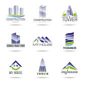 Collection of real estate and architecture icon set — Stock Vector