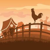 Farm in the morning — Stock Vector