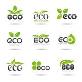 生態学のアイコンを設定します。エコ アイコン — ストックベクタ