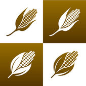 Corn and leaves. Design elements. Icon set. — Stock Vector