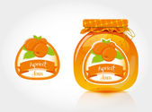 Apricot jam label with jar — Stock Vector