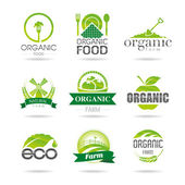 Ecology, organic, farm icon set. Eco-icons — Stock Vector