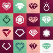 Stock Vector: Diamond vector icons set