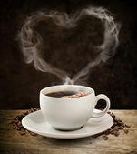 Smoke sweet heart coffee with clipping path. — Stock Photo