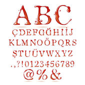 Ketchup alphabet upper case — Stock Vector