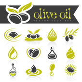 Olive oil icon set — Stock Vector