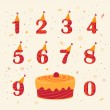 Set of icons birthday celebration red and yellow colors — Stock Photo #40016251