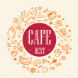 Title best cafe surrounded themed icons — Stock Photo #40016273