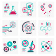 Set of icons of science and technology red and green colors — Stock Photo #40016281