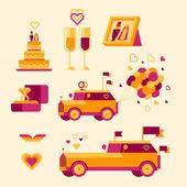 Icon set for a wedding celebration — Stock Photo