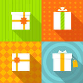 Set of icons gift box bright colors look with different sides — Stock Photo