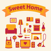 Set of icons of a cozy home red and yellow colors — Stock Photo
