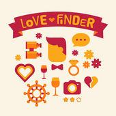 Set of icons love finder red and yellow — Stock Photo