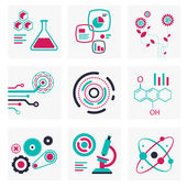 Set of icons of science and technology red and green colors — Stock Photo