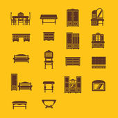 Set of furniture icons from different times — Stock Photo