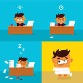 Illustration of the office workers who weariness crazy — Stock Photo