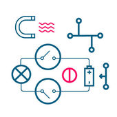 Set of icons of physical processes line art — Stock Photo