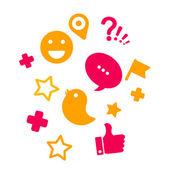 Zestaw ikon dla sieci społecznych kolory czerwony i żółty — Zdjęcie stockowe
