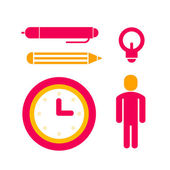 Set of icons for office work red and yellow colors — Stock Photo