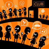 Illustration with black silhouettes of cartoon people standing in line at the nightclub — Stock Photo
