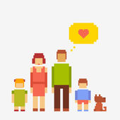 Pixel people family of four people and a dog — Stock Photo