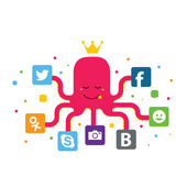 Illustration of social networking with an octopus holding icons — Stock Photo