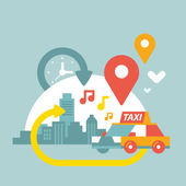 Illustration of an urban life with taxi and geo location — Stock Vector