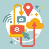 Illustrazione delle comunicazioni di computer — Vettoriale Stock