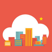Flat style illustration modern city in the cloud — Stock Vector