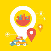 Vector taxi service and navigation in city — Stock Vector